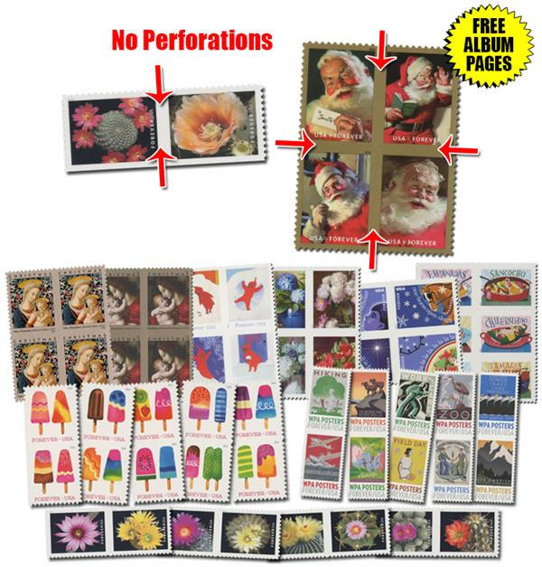 2016-19 Collection of Imperforate-Between & Imperforate-Within Stamps from Uncut Press Sheets - 60 stamps, plus mounts