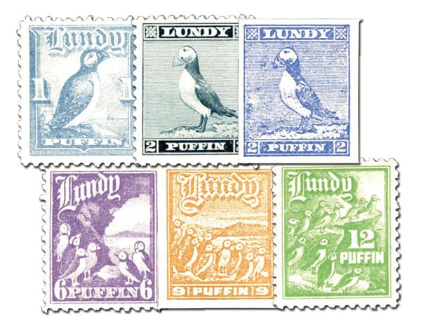 Lundy Island Puffin Stamps, Set of 6