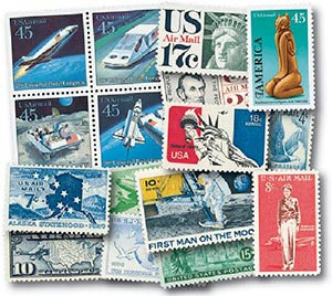 105 Used Airmail Stamps & Free pages
