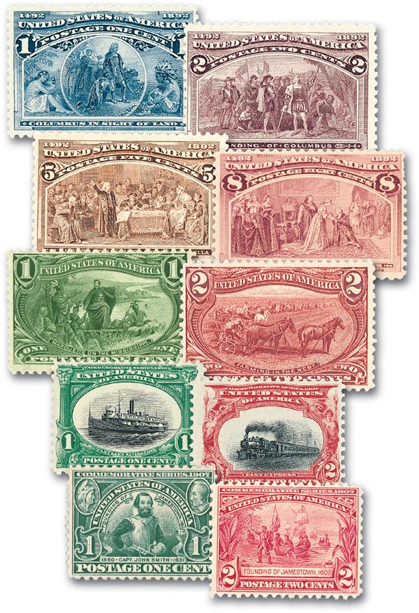 1893-1907 Commemoratives, 10 stamps,used