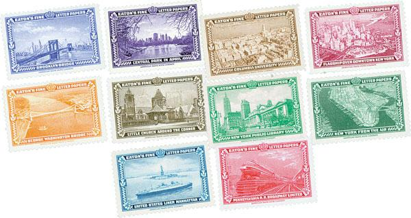 Labels Featuring New York City Landmarks, 10 labels printed by American Bank Note Company