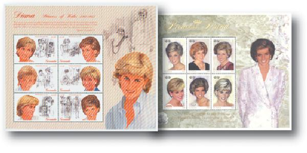 Princess Diana souvenir sheet set of 2 with pages