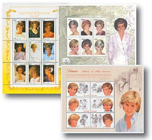 Princess Diana, set of 3 sheets