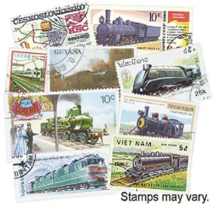 Trains, 200 stamps, Used