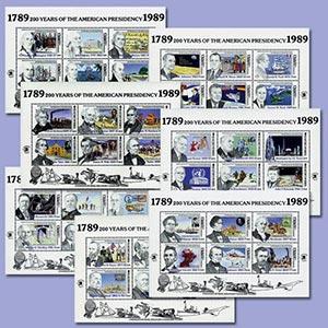 "1989 US Presidency ""200th Anniversary"", Mint, Set of 7 Sheets, Worldwide"