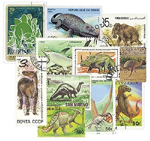 Prehistoric Animals 100 used stamps