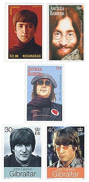 John Lennon Stamps, Mint, Set of 12, Worldwide
