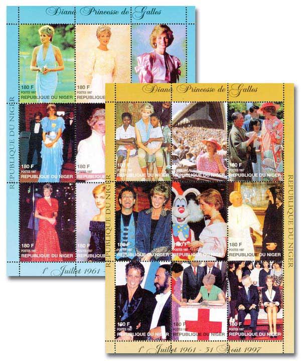 Princess Diana Mint Souvenir Sheets, Set of 3, Worldwide