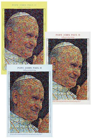 Pope John Paul II Photomosaic Mint Sheets, Set of 3, Worldwide