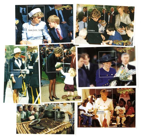 Princess Diana NMint Souvenir Sheet Collection, Set of 7, Worldwide