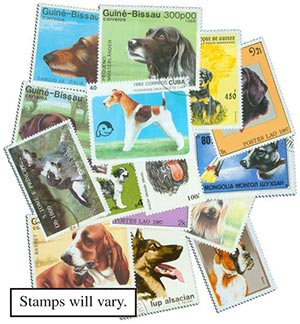 Dogs Collection, Used, 100 Stamps, Worldwide