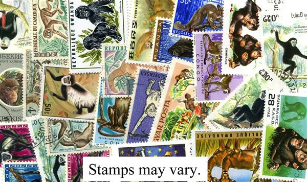 Monkeys & Apes, Used, Set of 25 Stamps, Worldwide