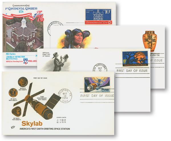 1947-2004 First Day Cover Collection, 100 First Day Covers with FREE Album