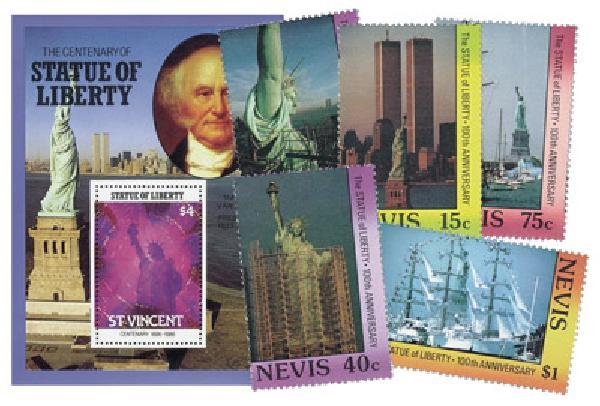 Statue of Liberty Centenary - 4 souvenir sheets plus 10 mint stamps