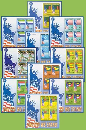 """""""United We Stand"""" Souvenir Sheet Collection, Mint, Set of 10, Worldwide"""