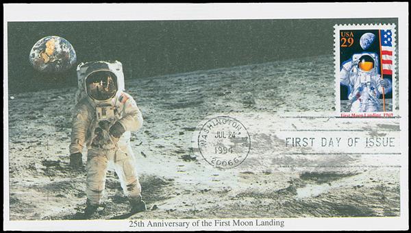1994 #2841a Moon Landing FDC,cancel error