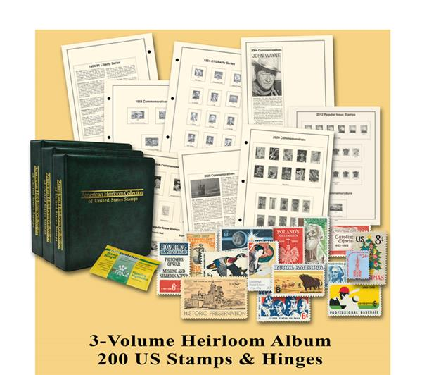 3-Volume American Heirloom Album and 200 Used US Stamps – #M8104