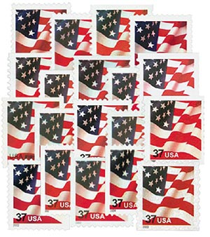 2002-04 US Flag Series, 19 mint stamps
