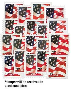 2002-04 US Flag Series, 19 used stamps
