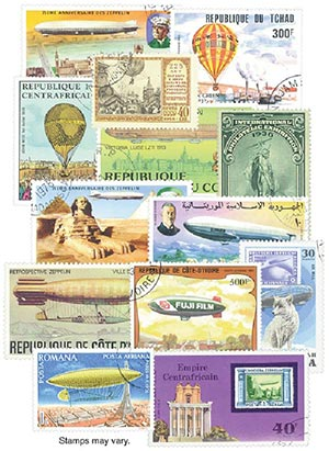 Zeppelins & Balloons, 100 stamps, cancelled