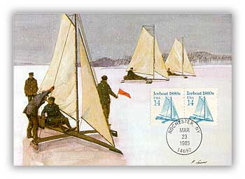 1985 14c Iceboat 1880s, Coil, Maximum Card