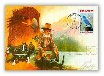 1990 25c Idaho State (Mtn Bluebird)