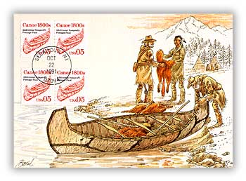 1991 5c Canoe Maximum Card
