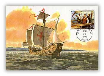 1992 29c Columbus Approaching Land