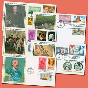 5v US FDCs with Multiple Stamps