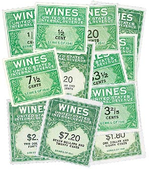 RE108//203 1942-54 1/5c- $20 US Wine Revenue Stamps, Mint, Set of 59