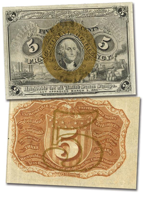 1863-67 2nd Issue 5c Fractional Currency