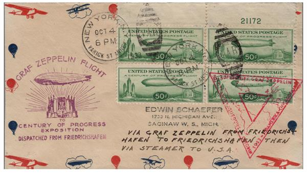 1933 50c Century of Progress Issue #C18 on Flown Cover Dispatched from Freidrichshafen, NY Cancel 10/4/1933