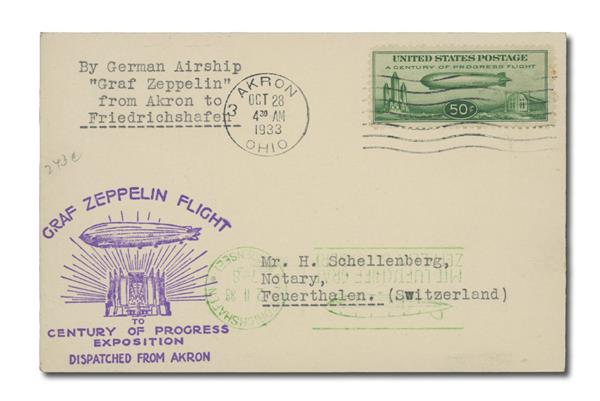 1933 50c Century of Progress Issue #C18 on Flown Cover