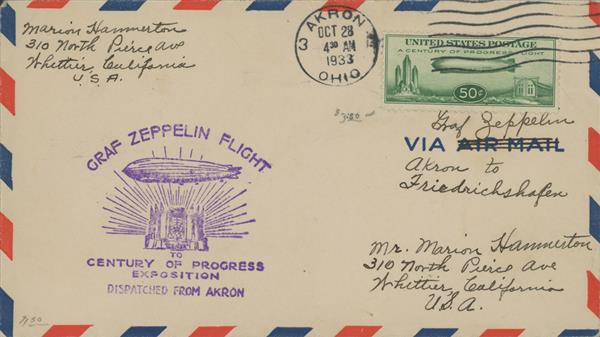 1933 50c Century of Progress Issue #C18 Dispatched from Akron, to either Sevilla or Freidrichshafen