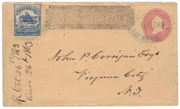 1862-64 25c Blue, Wells, Fargo & Co., Virginia City Pony Express, tied to U34