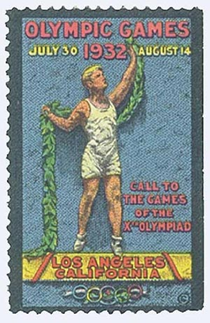 1932 Publicity label.for LA Olym. games