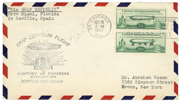 1933 50c C18 pair on cover