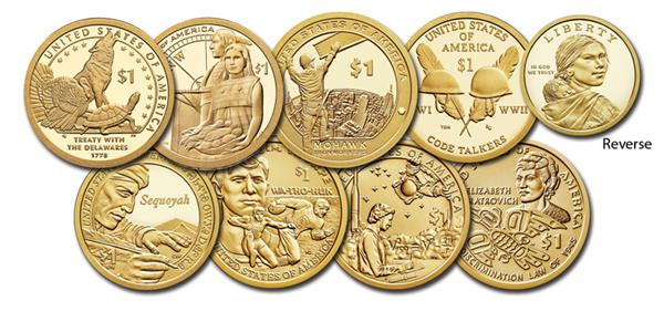 2013-2020 Native American Coin Collection, US $1 Sacagawea, Set of 8