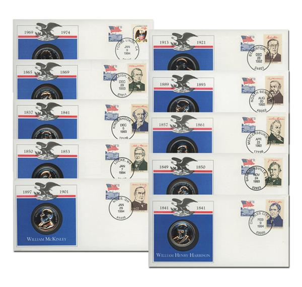 U.S. Presidential Platinum-Plated Medal Cover Collection, Set of 10