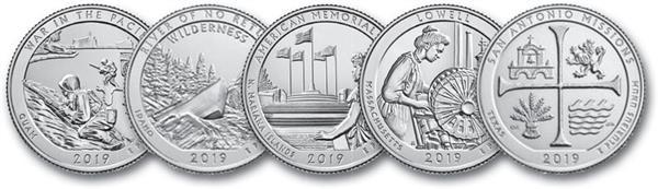 2019 US National Park Quarter Collection, Set of 5 Coins, Denver Mint