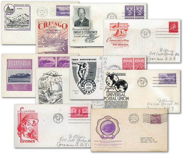 US 2nd Day of Issue Covers, Set of 10