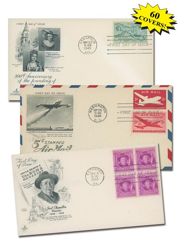 1940s US First Day Cover Collection, Set of 60