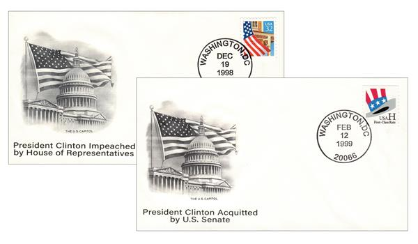 1998-99 Impeachment & Acquittal Covers of William Jefferson Clinton - 42nd President of the United States, Set of 2