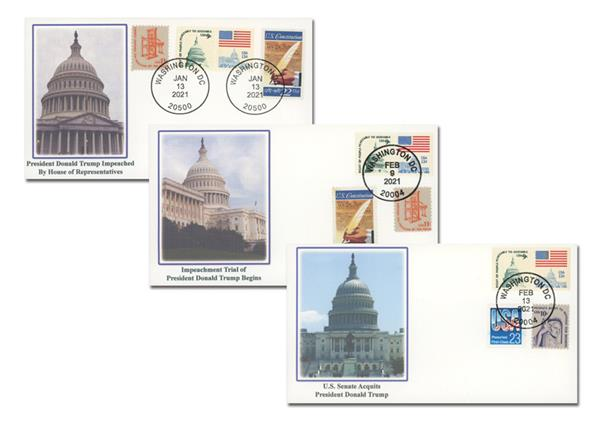 2021 The Impeachment & Acquittal of Donald J.Trump - 45th President of the United States, Set of 3 Covers