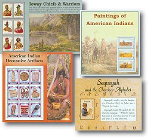 American Indian Stamp Collection; 3 Sheets and 1 Souvenir Sheet