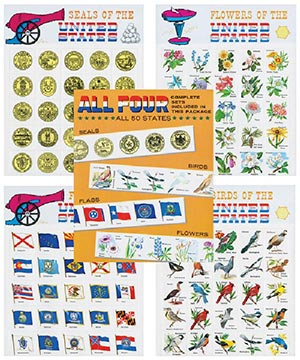 Seals, Birds, Flags, Flower labels