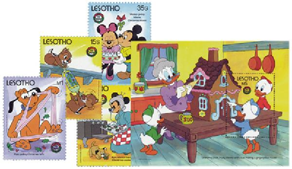 1986 Disney and Friends Celebrate Christmas, Mint, Set of 4 Stamps and Souvenir Sheet, Lesotho