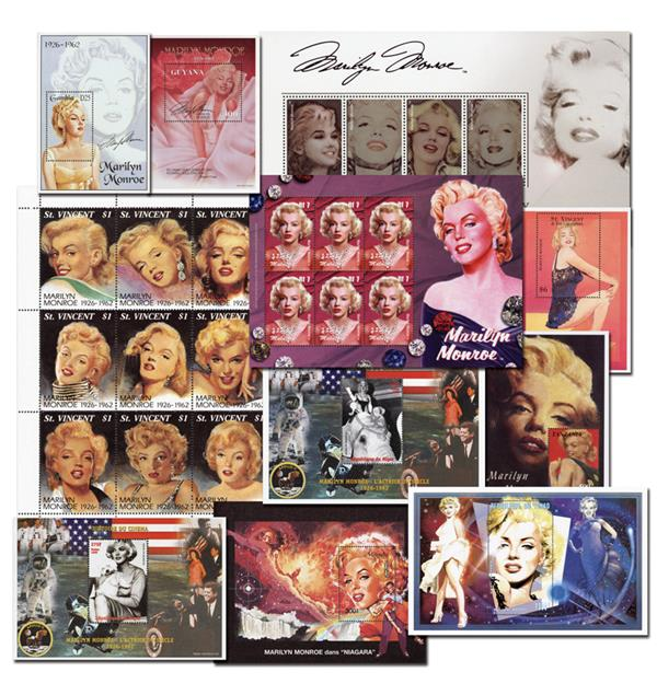 Collection of 27 mint worldwide Marilyn Monroe stamps