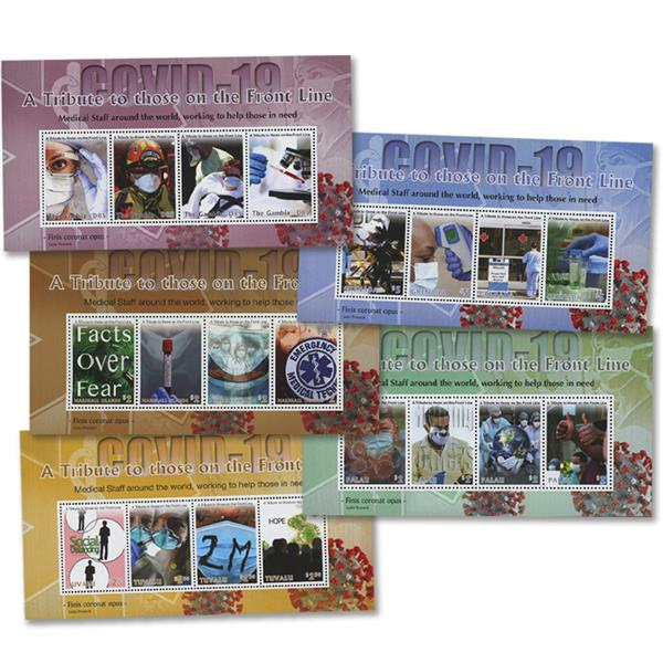 2020 Covid-19: A Tribute to Frontline Workers Collection, Set of 5 Mint Sheets, Worldwide