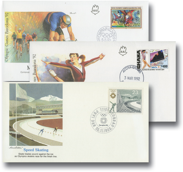 Foreign Olympic FDCs, 40v 56% DISCOUNTED